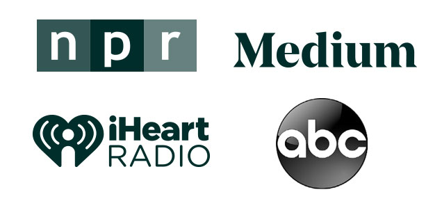 NPR, Medium, iHeart Radio and ABC logos